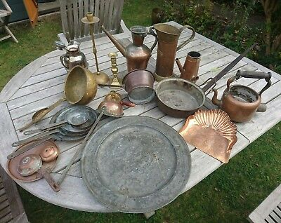Job Lot assorted items, copper/metal/led/antique?? - ex pub Hampton Court