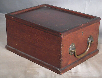 Antique Early American Mahogany Locking Slide Lid Box Dovetail Brass handle FINE