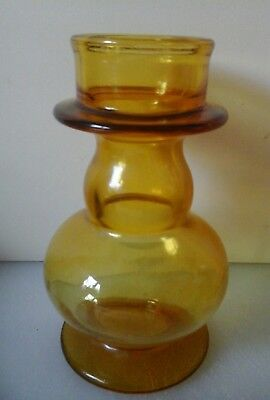 1 Heavy Amber  coloured glass Hyacinth vase