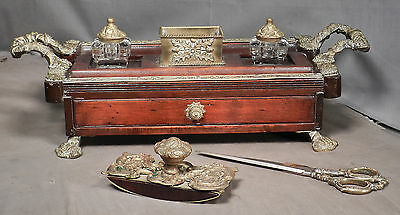Antique French baroque Encrier Inkwell Stand Standish Massive Ormolu Blot PLUS++