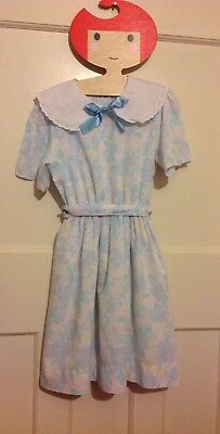 Vintage 1980s girls dress age 5-6 6-7 Years Collar floral Romany Pastel