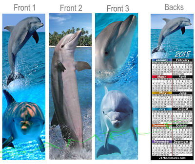 3 set-DOLPHIN 2018 CALENDAR BOOKMARK Marine Ocean Porpoise Flipper Art Book Card