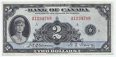 GREAT SERIAL # Bank of Canada 1935 two 2 dollar bill A1234789 Osborne & Towers
