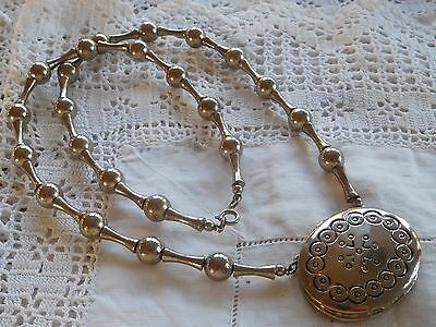 Lovely Vintage 1970s Decorative Silver Tone Solid Perfume Necklace signed Estee
