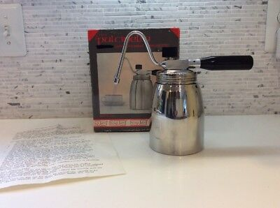 Pulcinella Italy Stovetop Milk Frother Cappuccino Stainless Steel NOS