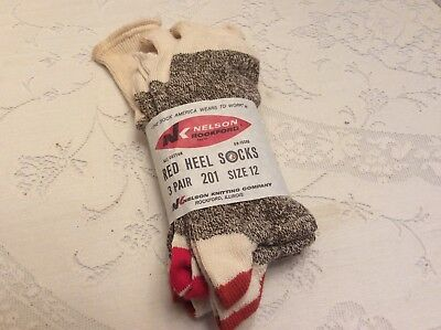 Vintage Nelson Rockford Red Heel Socks For Monkey Elephant 3 pair Size 12 NOS