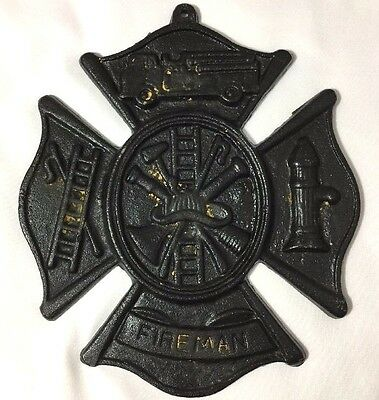 Vintage Fireman Firehouse Cast Iron Medallion Plaque Fire Department Symbol