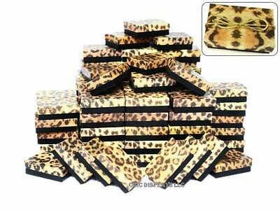 Lot Of 100 Leopard Cotton Filled Box Jewelry Gift Boxes Ring Box ~Deal~