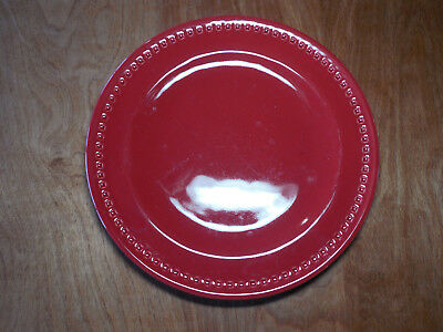"Emeril KICK IT UP A NOTCH RED Set of 3 Dinner Plates 11"" impressed squares B"