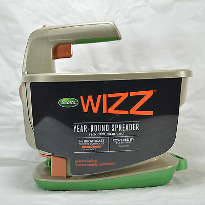 NEW Scotts Wizz Handheld Battery Power Spreader Year Round Use Seed Ice Melt