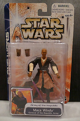Star Wars - 2003 Clone Wars Collection - Mace Windu Figure - Sealed On Card!