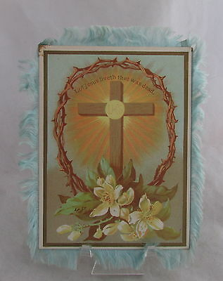 Victorian Easter Double Sided Paper Card Cross Crown Thorns Silk Fringe