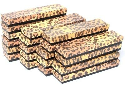"""LOT OF 100 LEOPARD COTTON FILLED BOX JEWELRY GIFT BOXES BRACELET BOX 8"""" x 2""""x 1"""""""