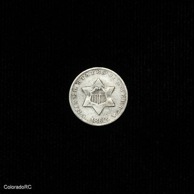1852 U.S. Mint 3 Cent Silver Coin in G Condition