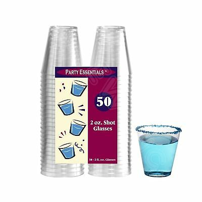 Party Essentials Hard Plastic 2-Ounce Shot/Shooter Glasses, Clear, 50-Count,