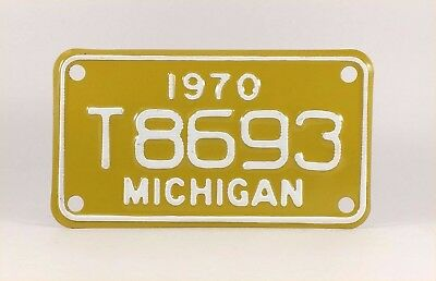 1970 Michigan Motorcycle License Plate - Mint Condition - YOM