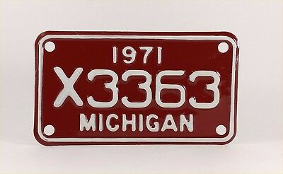 1971 Michigan Motorcycle License Plate - Mint Condition - YOM