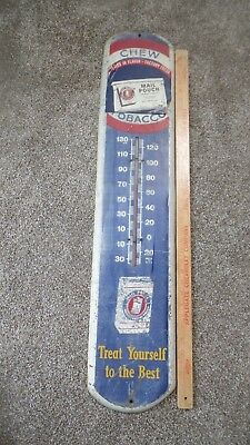 """Vintage 38"""" Metal MAIL POUCH Advertising Thermometer w Thermometer intact"""