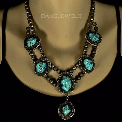 Vintage OLD PAWN Navajo Handmade Natural Nugget Turquoise Sterling Necklace