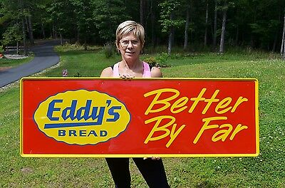 "Vintage 54"" Eddy's Bread Embossed Heavy Metal Dairy Sign Minty Rare Collectable!"