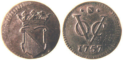 Netherlands East Indies 1757 Copper 1/2 Duit Utrecht Company