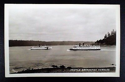 Vintage Rppc Seattle-Bremerton Ferries Real Photo Postcard