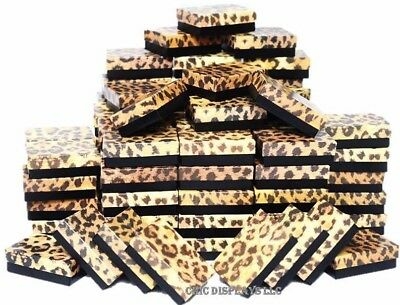 Lot Of 100 Leopard Cotton Filled Box Jewelry Gift Boxes Jewelry Ring Box ~Deal~