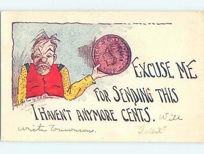 Pre-1907 coin collecting comic MAN HOLDING LARGE INDIAN HEAD PENNY HL2102