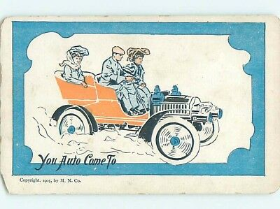 Chipped Pre-1907 comic MAN WITH TWO WOMEN IN VERY EARLY AUTOMOBILE CAR HL2132