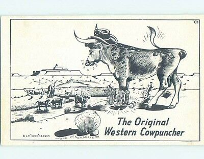 Pre-1980 western signed DUDE LARSEN - COW WEARS BOOTS WITH SPURS HL3541