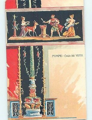 Pre-1907 foreign WOMAN BESIDE ROMAN SOLDIER WITH SWORD AT POMPEII ITALY HL7635
