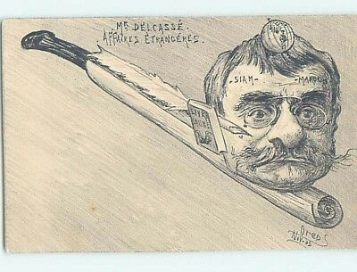 1903 signed BIZARRE POSTCARD - FRANCE MINISTER OF AFFAIRS ON SCROLL HL8200