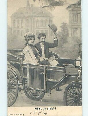 1906 foreign COUPLE RIDING IN VERY OLD ANTIQUE AUTOMOBILE CAR HL8017