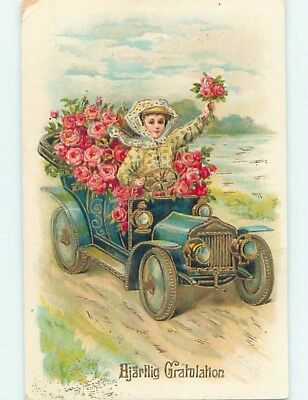 Pre-Linen foreign WOMAN DRIVING OLD AUTOMOBILE CAR FULL OF ROSE FLOWERS HL4629