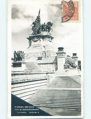 old rppc STATUE BY THE STEPS Sao Paulo Brazil HM1529