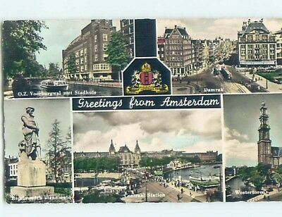old rppc FIVE SCENES ON POSTCARD Amsterdam Netherlands HM1870