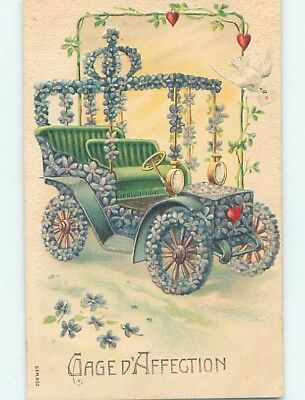 Pre-Linen foreign VERY OLD AUTOMOBILE CAR DECORATED WITH FLOWERS HL7702