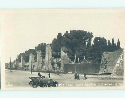 old rppc OLD CAR BESIDE WALL Rome - Roma Italy HM1655