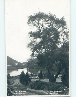 old rppc BANDSTAND BY THE WATER Petropolis - Rio De Janeiro Brazil HM1450
