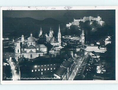 old rppc CITY LIT UP AT NIGHT Salzburg Austria HM1580