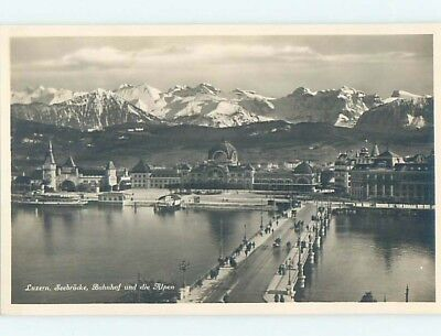 old rppc BRIDGE AND BUILDINGS Lucerne - Luzern Switzerland HM1676