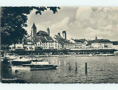 old rppc HOTELS ON WATER Rapperswil - Rappi - Rapperswil-Jona Switzerland HM2198