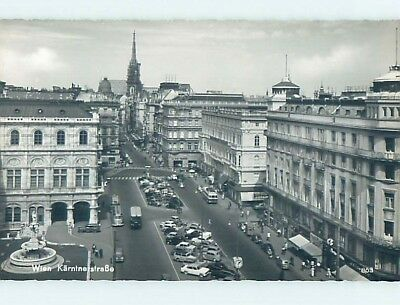 old rppc OLD CARS AND SHOPS ALONG STREET Vienna - Wien Austria HM1971