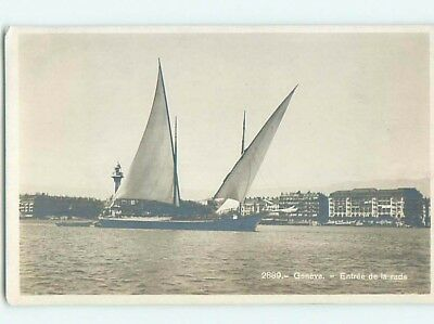 old rppc LARGE SAILBOAT BOAT IN HARBOR Geneva - Geneve Switzerland HM2227