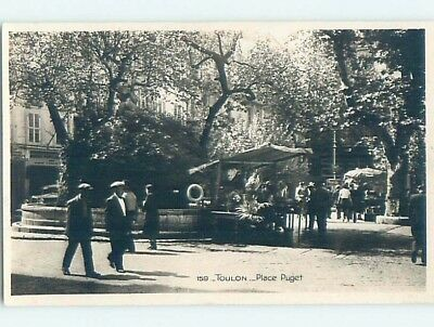 old rppc VENDOR STAND UNDER THE TREE Toulon - Tolon France HM1930