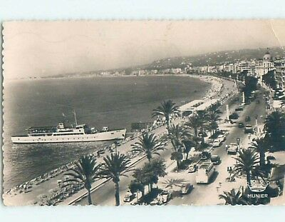 old rppc OLD CARS AT BEACH Nice - French Riviera - Cote D'Azur France HM2237