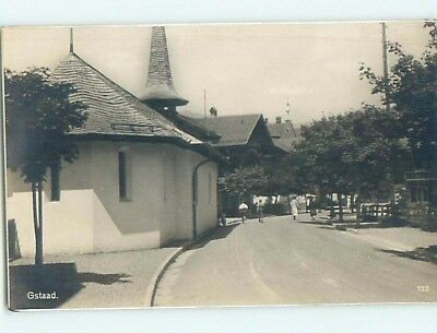 old rppc BUILDINGS ALONG THE STREET Gstaad - Bern Switzerland HM2218