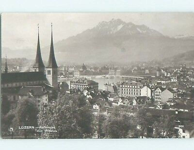old rppc AERIAL VIEW OF TOWN Lucerne - Luzern Switzerland HM2163