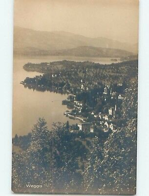 old rppc AERIAL VIEW OF TOWN Weggis - Lucerne Switzerland HM1502