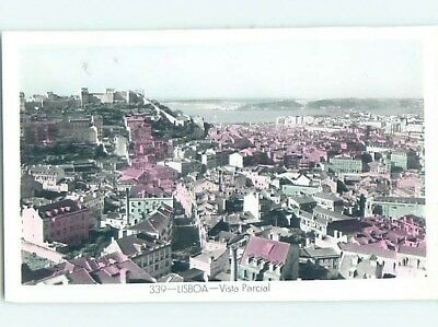 old rppc AERIAL VIEW OF TOWN Lisbon - Lisboa Portugal HM1773